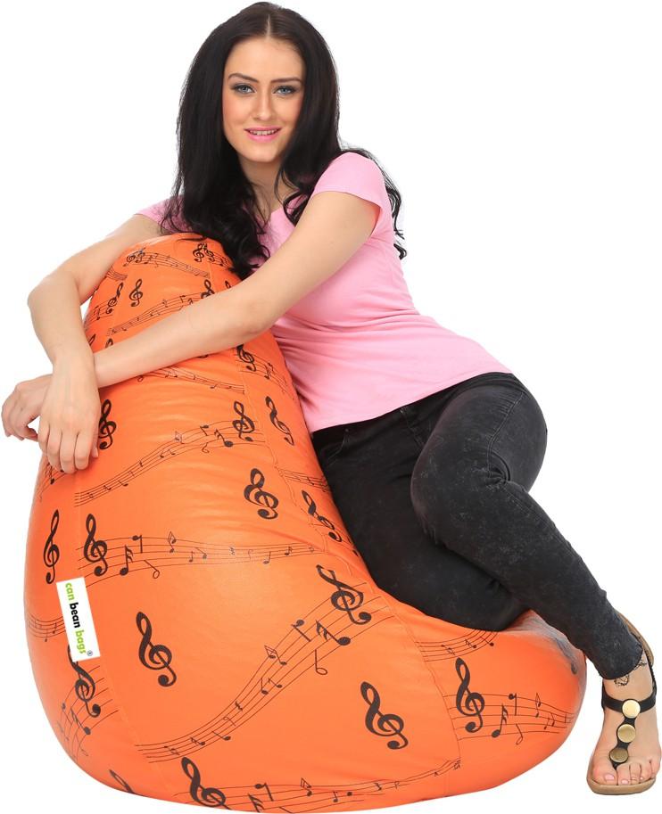 View Can Bean Bag XL Bean Bag  With Bean Filling(Orange, Black) Furniture (Can bean bags)