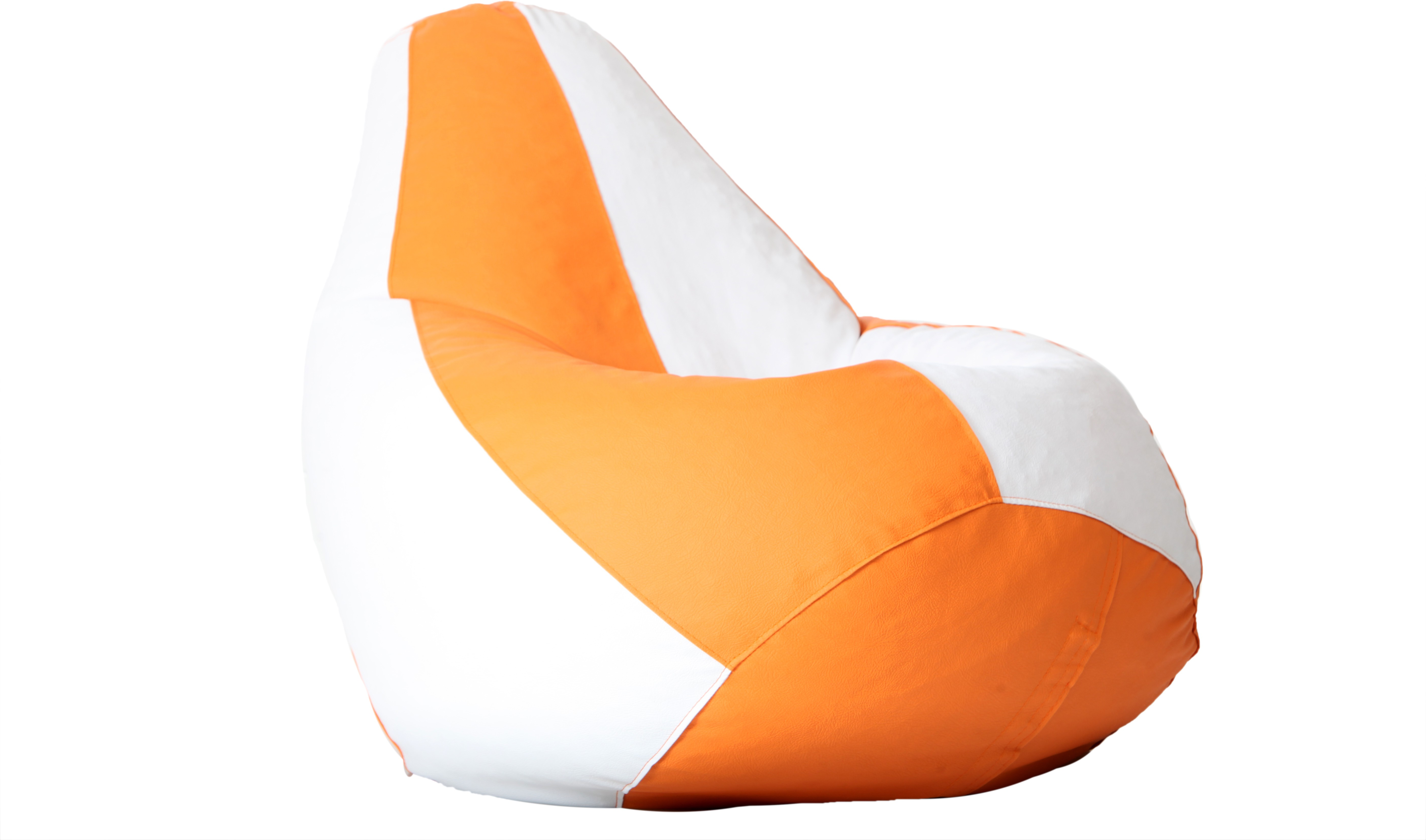 View Comfy Bean Bags XXL Bean Bag Cover(White, Orange) Furniture (Comfy Bean Bags)