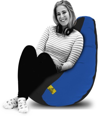 Dolphin Bean Bags XL Dolphin Xl Black/R.Blue-Fabric-Filled(With Beans) Bean Bag  With Bean Filling