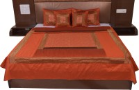 Soundarya Silk Double Bed Cover(Orange)