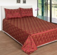 Shivalik Jacquard Double Bed Cover(Maroon, Gold)