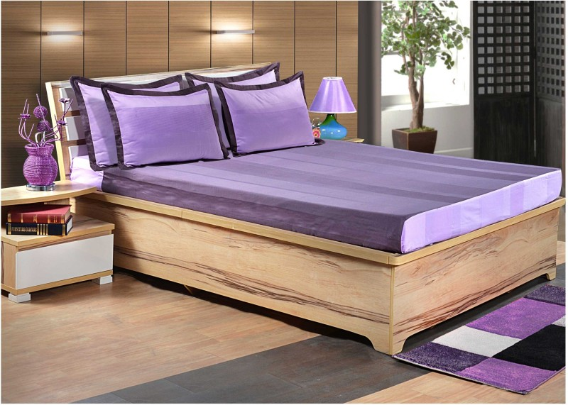 Shayan Homes Cotton King Bed Cover(Purple, Bedsheet, Pillow Covers)