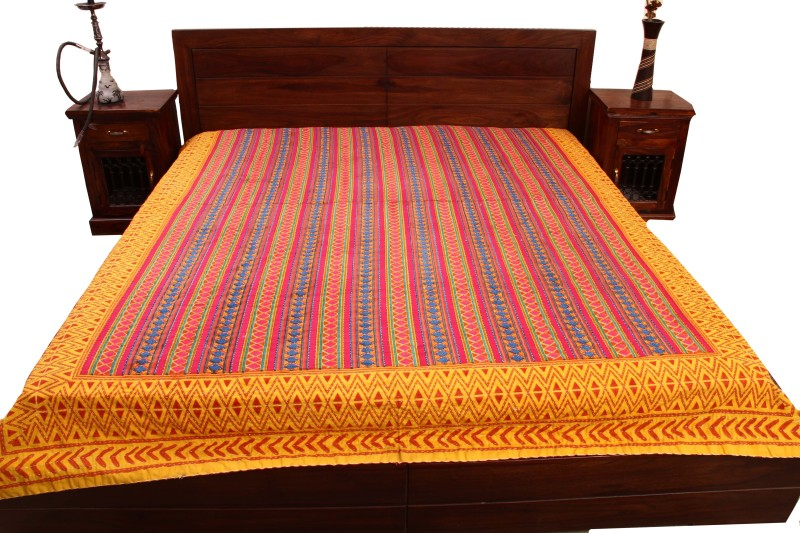 Unravel India Cotton King Bed Spread(Multicolor)