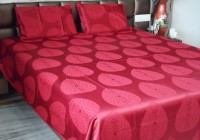 Snuggle Polycotton Double Bed Cover(Red, Bed Cover, 2 Pillow Covers)