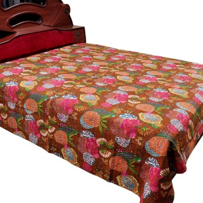 Jaipur Raga Cotton Double Bed Cover(Brown)