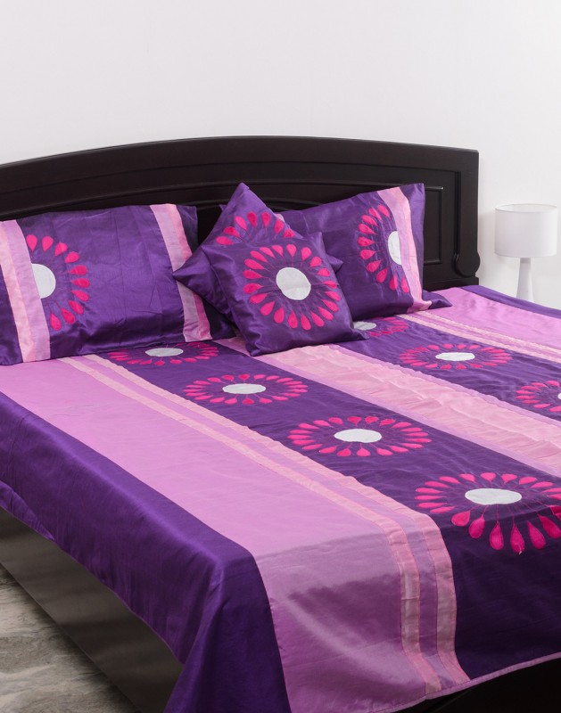 Kalasansar Polyester, Cotton Double Bed Cover(Purple, Bed Cover, Pillow Covers)