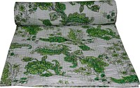 Rajcrafts Cotton Double Bed Spread(White, Green)