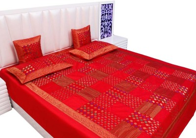 Vivan Creation Silk Double Bed Cover Red, 1 Double Bedcover, 2 Cushion Covers, 2 Pillow Covers  available at Flipkart for Rs.5400