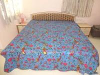 Minky's Decor Cotton Double Bed Cover(Blue)