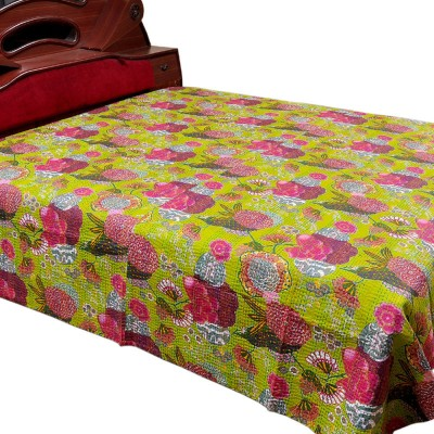 Jaipur Raga Cotton Double Bed Cover(Green)