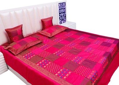 Vivan Creation Silk Double Bed Cover Pink, 1 Double Bedcover, 2 Cushion Covers, 2 Pillow Covers  available at Flipkart for Rs.5400