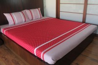 Blueberry Home Cotton Double Bed Cover(Red)