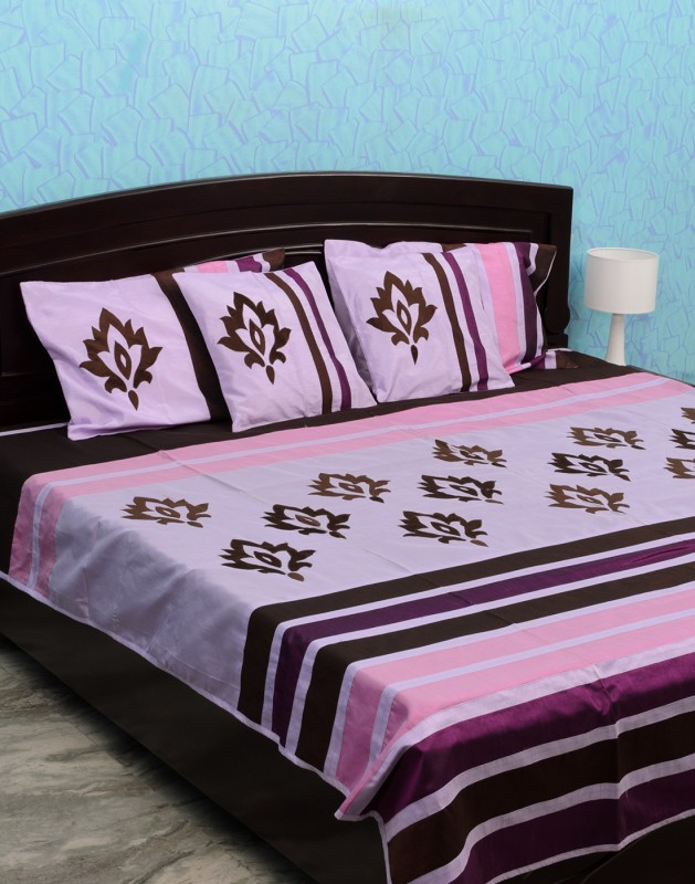 Isha Collections Silk, Cotton, Velvet Double Bed Spread(Purple, 1 Bed Cover, 2 Pillow Covers, 2 Cushion Covers)