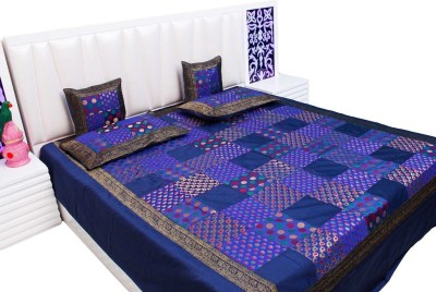 Vivan Creation Silk Double Bed Cover Purple, 1 Double Bedcover, 2 Cushion Covers, 2 Pillow Covers  available at Flipkart for Rs.5400