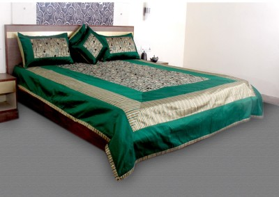 Jaipurtextileshub Polycotton Double Bed Cover(Green, 1 Bed Cover, 2 Pillow Covers, 2 Cushion Covers)