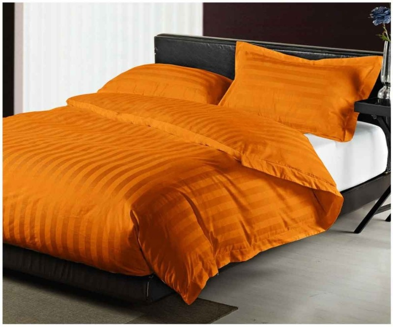 Shayan Homes Cotton King Bed Cover(Orange, Bedsheet, Pillow Covers)