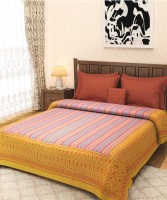 VarEesha Cotton Double Bed Cover(Yellow)