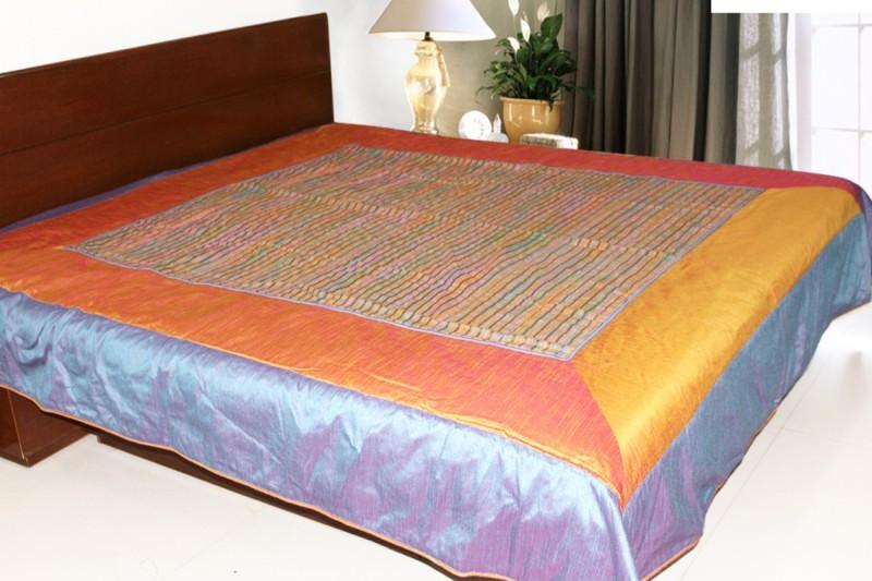 Coco Bee Silk Double Bed Spread(Orange, Silver)