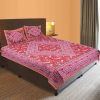 Indian Gift Emporium Cotton Double Bed Cover(Pink, Red, 1 Double Bedsheet, 2 Pillow Covers) best price on Flipkart @ Rs. 595