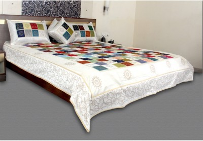 Jaipurtextileshub Polycotton Double Bed Cover(White, 1 Bed Cover, 2 Pillow Covers, 2 Cushion Covers)