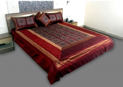 Jaipurtextileshub Polycotton Double Bed Cover(Maroon, 1 Bed Cover, 2 Pillow Covers, 2 Cushion Covers)