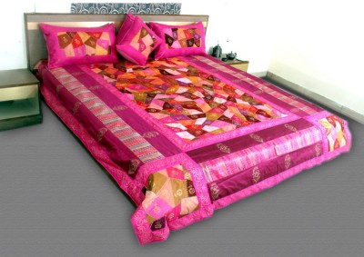 Jaipurtextileshub Polycotton Double Bed Cover(Pink, 1 Bed Cover, 2 Pillow Covers, 2 Cushion Covers)