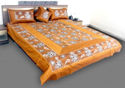 Jaipurtextileshub Polycotton Double Bed Cover(Gold, 1 Bed Cover, 2 Pillow Covers, 2 Cushion Covers)