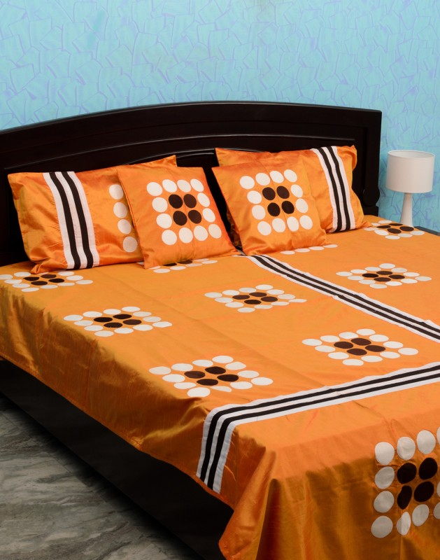 Isha Collections Silk, Cotton, Velvet Double Bed Spread(Orange, 1 Bed Cover, 2 Pillow Covers, 2 Cushion Covers)