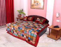 Hometexbazar Silk King Bed Cover(Multicolor, 1 bedcovar,2 pillow covers,2 cushion covers)