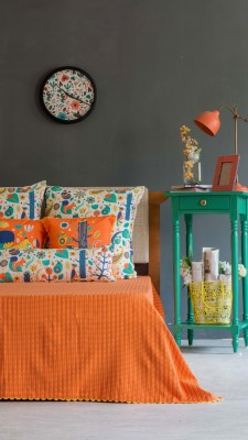 Chumbak Cotton Double Bed Cover(Orange)