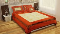Stop N Shop Silk Double Bed Cover(Red, Beige, Maroon)
