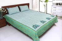 Coco Bee Cotton Double Bed Cover(White, Green, Bed Cover, 2 Pillow Covers) best price on Flipkart @ Rs. 2900