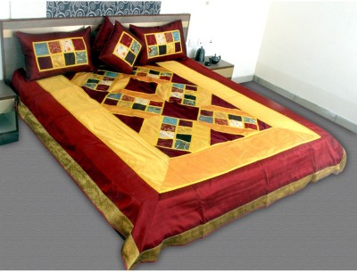 Jaipurtextileshub Polycotton Double Bed Cover(Yellow, Maroon, 1 Bed Cover, 2 Pillow Covers, 2 Cushion Covers)