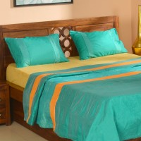 @home Polyester Double Bed Cover(Light Green, 1 Bed Cover, 2 Pillow Cover)