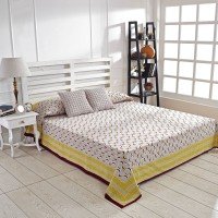 Ratan Jaipur Cotton Double Bed Cover(Yellow, 1Bed Cover, 2 Cushion Cover)
