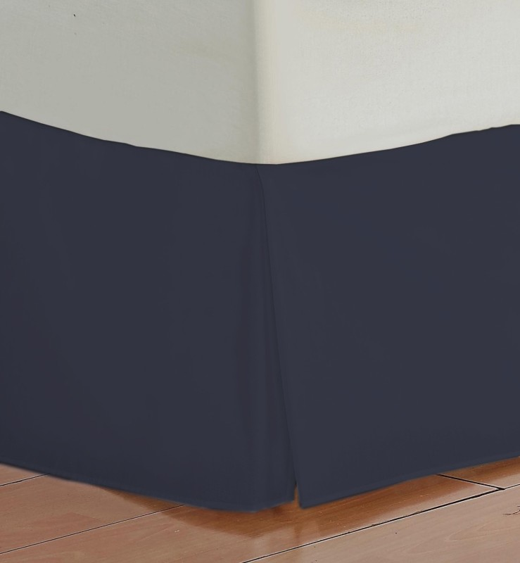 Misr Fitted Single Size Bed Skirt(Navy Blue Box Pleat Pack of1)