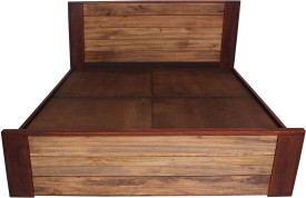 peachtree Solid Wood Queen Bed With Storage(Finish Color - Natural Walnut)