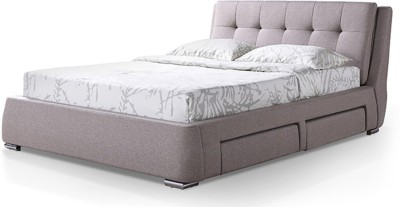 Urban Ladder Stanhope Upholstered Engineered Wood King Bed With Storage(Finish Color - Mist Brown)