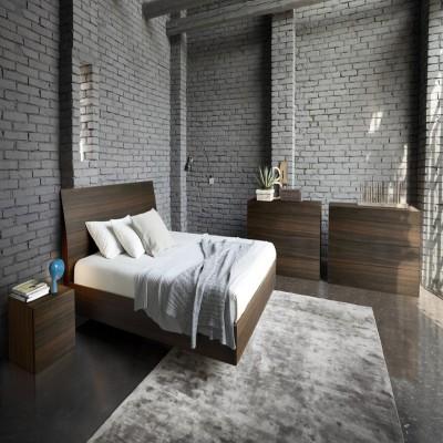 Tezerac Solid Wood Queen Bed(Finish Color - walnut)