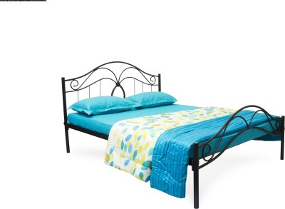 FurnitureKraft Double Metal Queen Bed(Finish Color - Black)