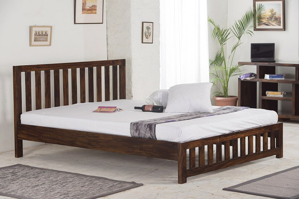 View Home Edge Solid Wood Queen Bed(Finish Color -  Light Walnut) Furniture (Home Edge)