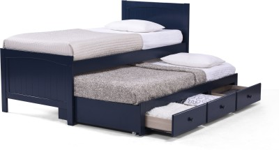 Urban Ladder Bering Trundle Solid Wood Single Bed With Storage(Finish Color - Blue)