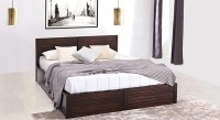 Urban Ladder Rille Solid Wood King Bed With Storage(Finish Color -  Mahogany)