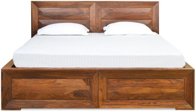 @home by Nilkamal Cubus Solid Wood Queen Bed With Storage