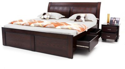 Furnicity Engineered Wood Queen Bed With Storage(Finish Color -  Wenge)