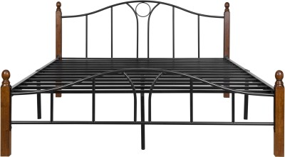 FurnitureKraft 3127 Double Metal Queen Bed(Finish Color - Black)