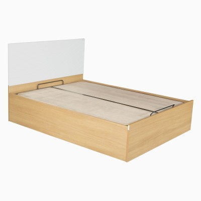 Godrej Interio Fiesta Engineered Wood Queen Bed With Storage(Finish Color - Jakarta teak::White)