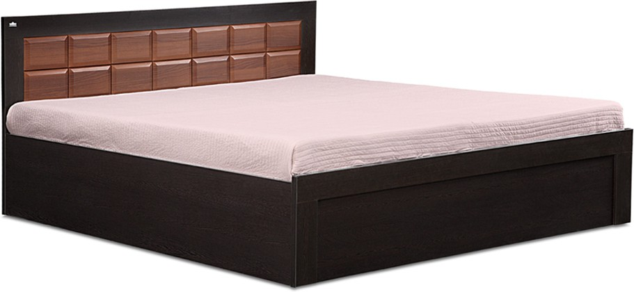 View Debono Brick FW BS Bed Engineered Wood Queen Bed With Storage(Finish Color -  Wenge & Walnut) Furniture (Debono)