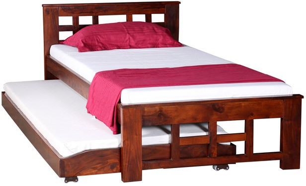 View Ethnic Handicrafts Solid Wood Single Bed(Finish Color -  Honey Oak) Furniture (Ethnic Handicrafts)