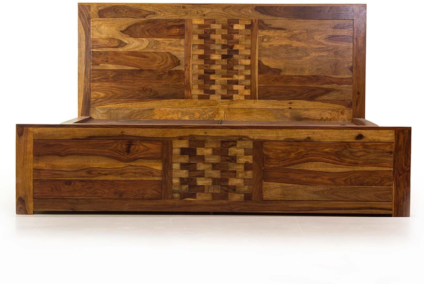 View Evok Imporio Solid Wood Queen Bed With Storage(Finish Color -  Walnut) Price Online(Evok)